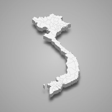 Vietnam 3d map with borders Template for your design