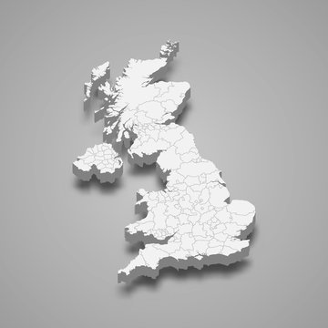 United Kingdom 3d map with borders Template for your design