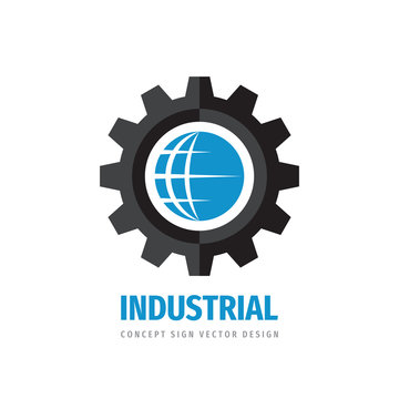 Global technology gear concept business logo template design. Globe world and cogwheel mechanic logo sign. Computer network SEO icon logo. Graphic logo design element. Vector illustration.