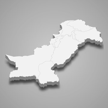 Pakistan 3d map with borders Template for your design