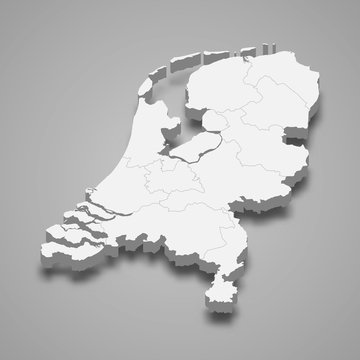 Netherlands 3d map with borders Template for your design