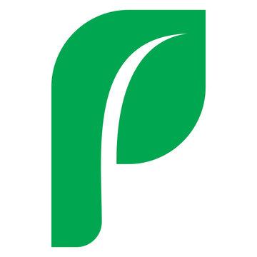 green nature leaf letter p logo design