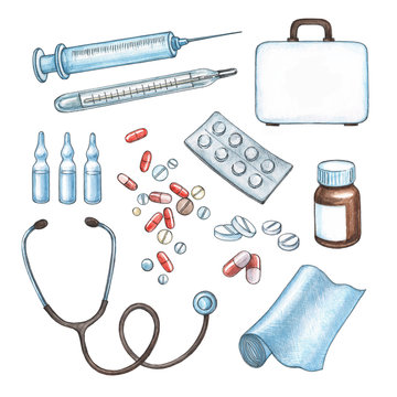 Standard medical kit of examination devices and medications for treating a patient. Realistic watercolor objects such as a thermometer, a stethoscope, a syringe, pills and others on white background.