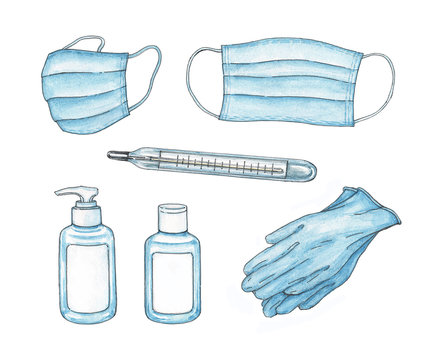 Set of tools for personal hygiene and prevention of virus infection: masks, thermometer, hand sanitizer, rubber gloves. Watercolor hand-drawn illustration on white background.