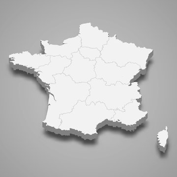 France 3d map with borders Template for your design