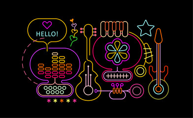 Ingelijste posters Abstractie Art Neon colors isolated on a black background Abstract Musical Design vector illustration.