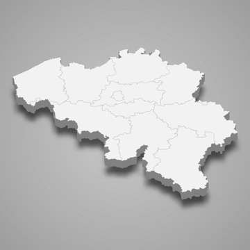 belgium 3d map with borders Template for your design