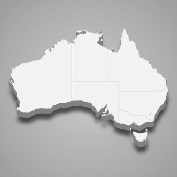 australia 3d map with borders Template for your design