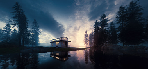 Lake with vintage tiny house in a sunset forest environment. 3d rendering.