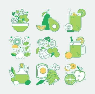 Healthy green foods icon pack