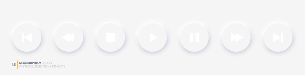White player buttons fully round. Neomorphism design style. Vector illustration EPS 10