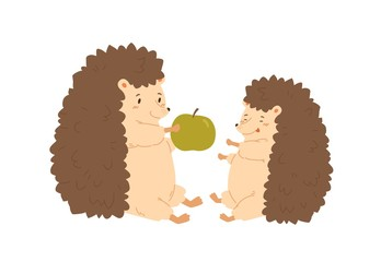 Funny hedgehog parent give green fresh apple to child vector flat illustration. Cartoon forest animal family sitting together isolated on white background. Colorful cute kid and lovely mother