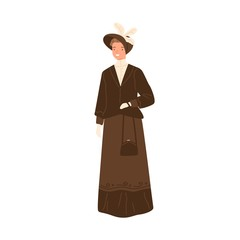 Happy woman standing in daily apparel of 1900s style vector flat illustration. Trendy smiling female wearing retro dress, hat and handbag isolated on white. Historical fashion of 19th century