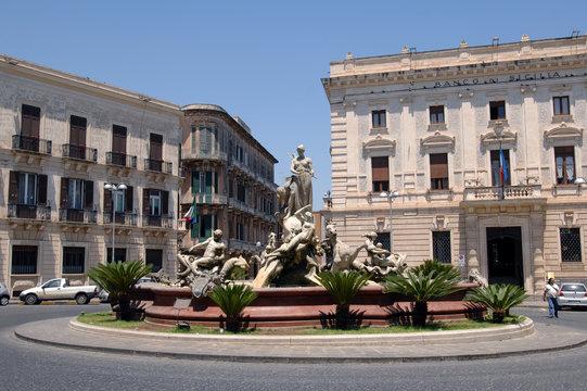Italy  Sicily  Syracuse ,07/03/2007: Ortigia Island, the Diana fountain is a monumental fountain from 1907 by Giulio Moschetti