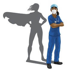 A nurse or doctor super hero woman in surgical or hospital scrubs with stethoscope and mask PPE. With arms folded and serious but caring look. Revealed as a superhero by the shape of her shadow.
