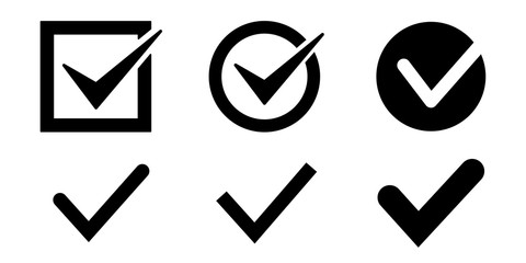 Checkmark icons set. Vector illustration