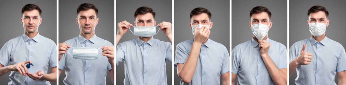 Man with sanitizer and protective mask