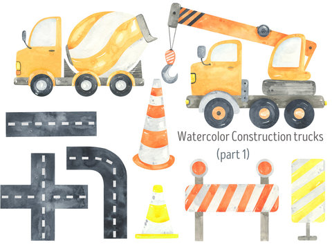 Watercolor Construction Trucks and tractors set. Funny construction equipment,  machinery, vehicles,road and road signs. Construction Trucks illustrations. Road cone, crane, concrete mixer.