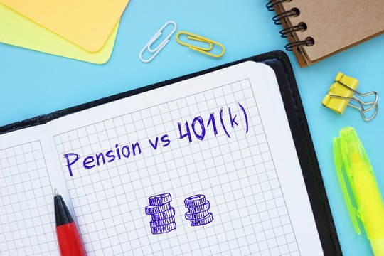 Business concept meaning Pension vs 401(k) with sign on the page.