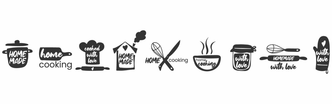 Set of hand drawn simple kitchen phrases - homemade,with love, home cooking, cooked with love. Badges, labels and logo elements, retro symbols for bakery shop, cooking club, cafe, or home cooking.