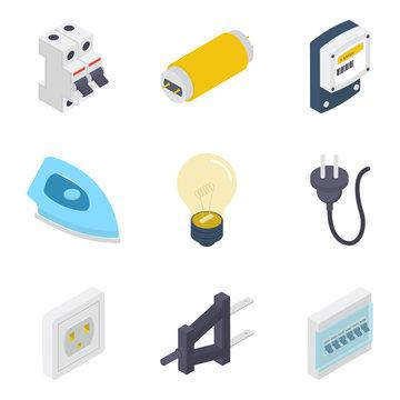 Electrical Equipments Isometric Vectors Pack