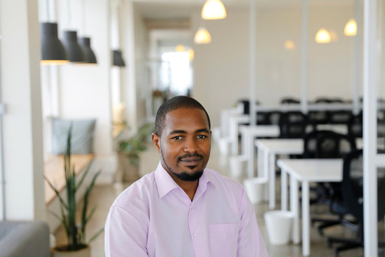 Peter Gikera, CTO & Co-Founder of the Nairobi-based TIBU startup, poses for a photo during an interview with Reuters at the office in Nairobi