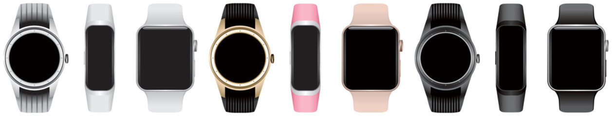 Smart watch with empty screen, same types of the smartwatch or smart belt in different color and form factor isolated with blank black screens realistic vector illustration for the design or mockup