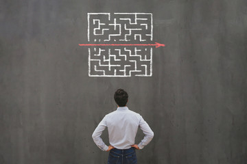 Fototapeta simple easy fast solution concept, problem solving, business man thinking about exit from complex labyrinth maze obraz