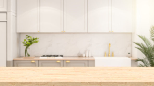 Empty wood table and blurred kitchen background decorated with a sink and electric stove and kitchen appliances. 3D illustration