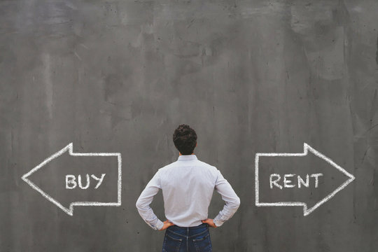 buy or rent choice, real estate concept,  businessman making decision