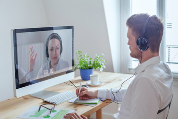 webinar, online conference meeting, education or coaching concept, learn by distance, e-learning