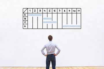 project management concept with gantt chart, business man plan schedule of work
