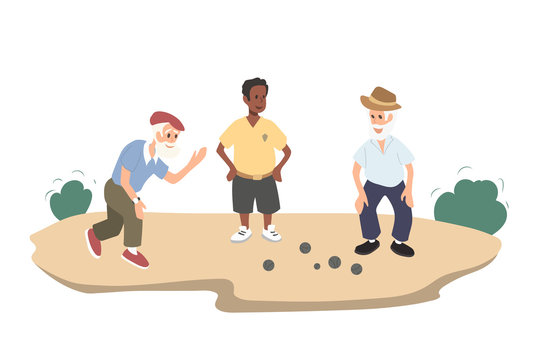 Old people gaming petanque. Grandfather play with friend. Isolated image of outdoor sport. Adult men action in cartoon style. Pensioners activity res