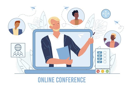 Online business video conference, meeting friends. Teamwork, communication. Internet technology global connection, web chatting. Leader, boss chief on laptop screen, interlocutors avatar talking