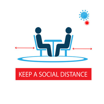 Keep a social distance in restaurants and cafes. Visitors ' tables are located at a safe distance. Prevention of coronavirus infection. Sticker. Icon. Vector flat illustration
