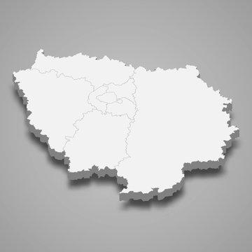 ile-de-france 3d map region of France Template for your design