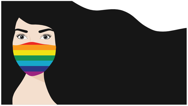 Beautiful long hair woman wearing rainbow face mask to protect COVID-19 disease vector illustration. LGBT transgender rainbow concept and new concept after covid-19 pandemic