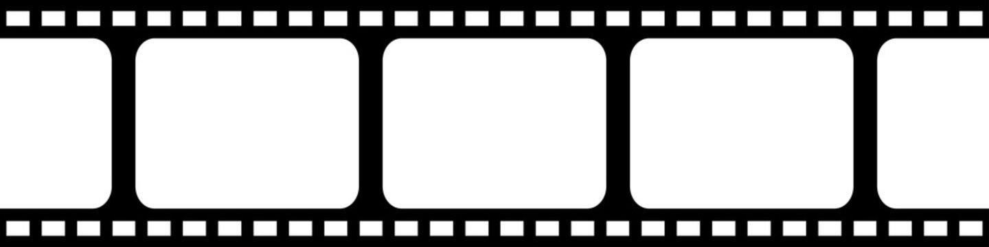 Film strip seamless background in flat style. Movie concept, isolated vector