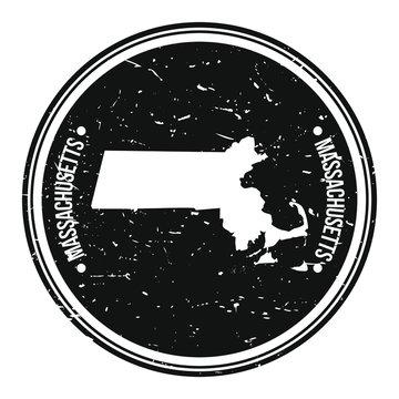 Massachusetts Map Symbol Round Design Stamp Travel and Business.