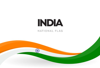 Indian waving flag banner. India independence day poster. The 15th of August annual celebration. National holiday vector illustration.