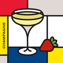 Champagne glass with strawberry. Modern style art with rectangular shapes. Piet Mondrian style pattern.