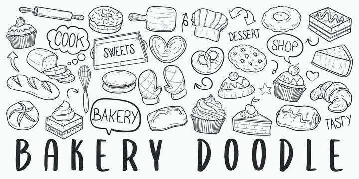 Bakery Pastry Doodle Line Art Illustration. Hand Drawn Vector Clip Art. Banner Set Logos.