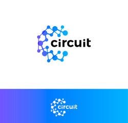 Digital innovation circuit logo. Technological progress logotype. Atomic structure, science laboratory icon. Artificial computational intelligence blue abstract round vector emblem.