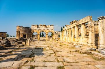 Hierapolis ancient city ruins Pamukkale Turkey. UNESCO world heritage site.