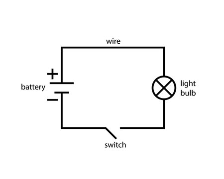Simple circuit diagram icon. Clipart image isolated on white background