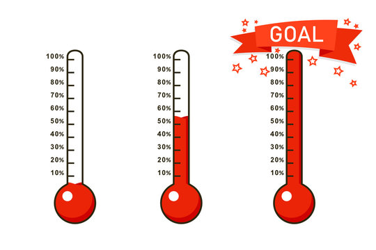 Goal thermometer icon set. Clipart image isolated on white background