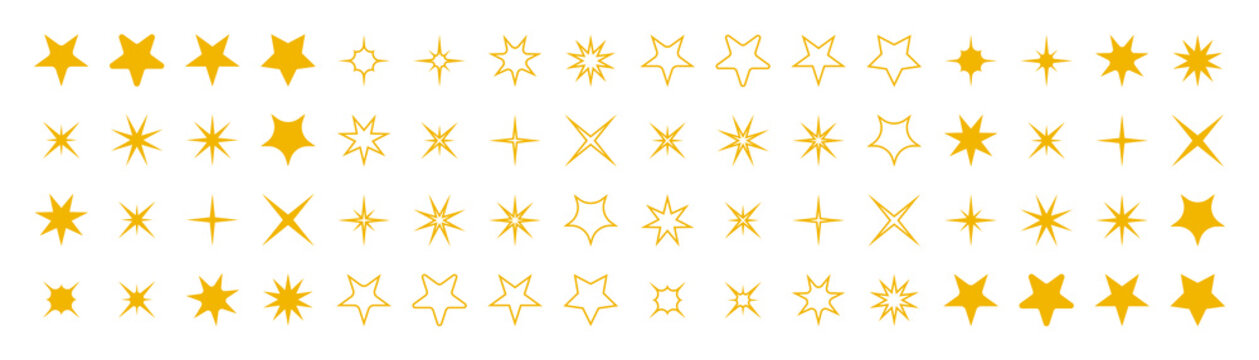 Stars collection. Star vector icons. Golden set of Stars, isolated. Star icon. Stars in modern simple flat style. Vector illustration