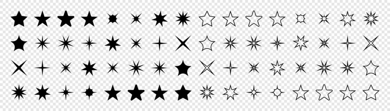 Stars collection. Star vector icons. Black set of Stars, isolated on transparent background. Star icon. Stars in modern simple flat style. Vector illustration