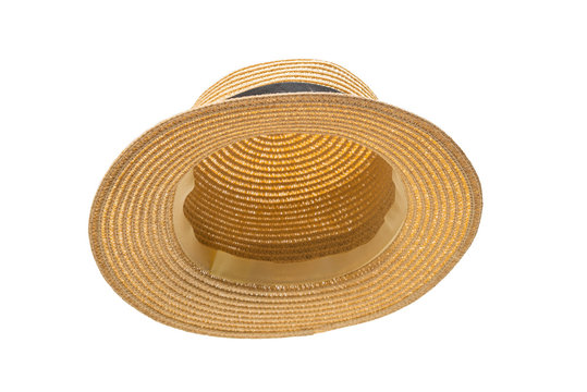 Straw hat with black bow isolated on white