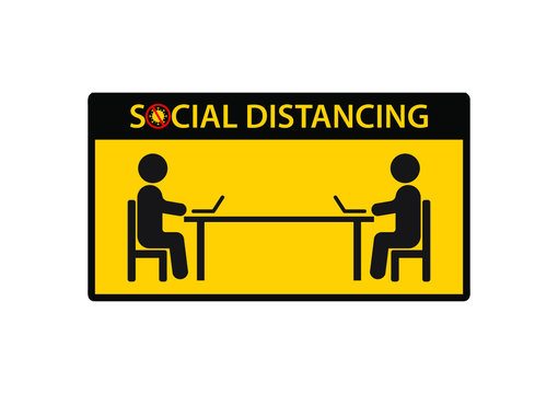 Social distancing. Keep 1-2 meter distance. Concept for Coronavirus epidemic protective. Vector illustration